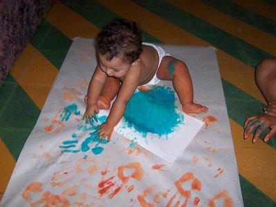 arte preescolar con los dedos