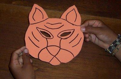 molde de tigre en foamy repintada con marcador